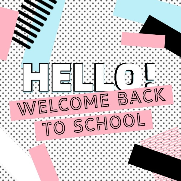 Online Back To School Greeting Instagram Post Template.