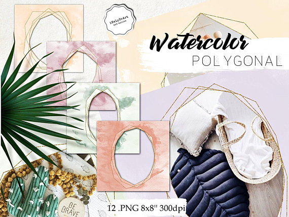 Polygonal Watercolor Frames Clipart.
