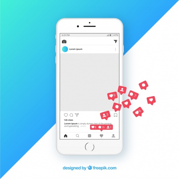 Free Instagram post template with notifications SVG DXF EPS PNG.