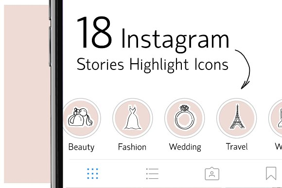 18 Instagram Stories Highlight Icons.