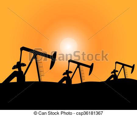 Clip Art Vector of Installations for oil production.