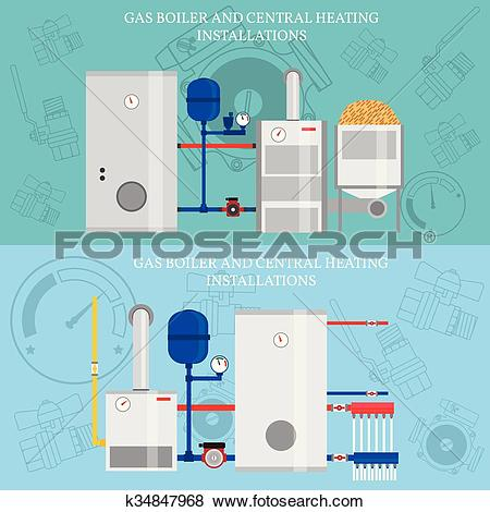 Clip Art of Gas boiler and central heating installations, flat.