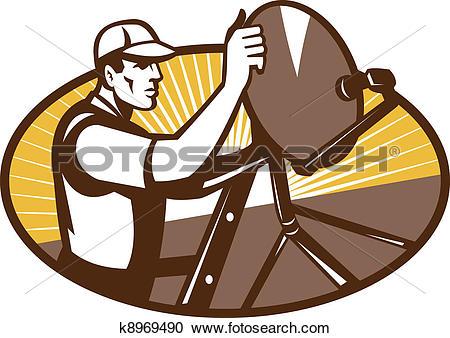 Clipart of Satellite Installation Technician Worker k8969490.