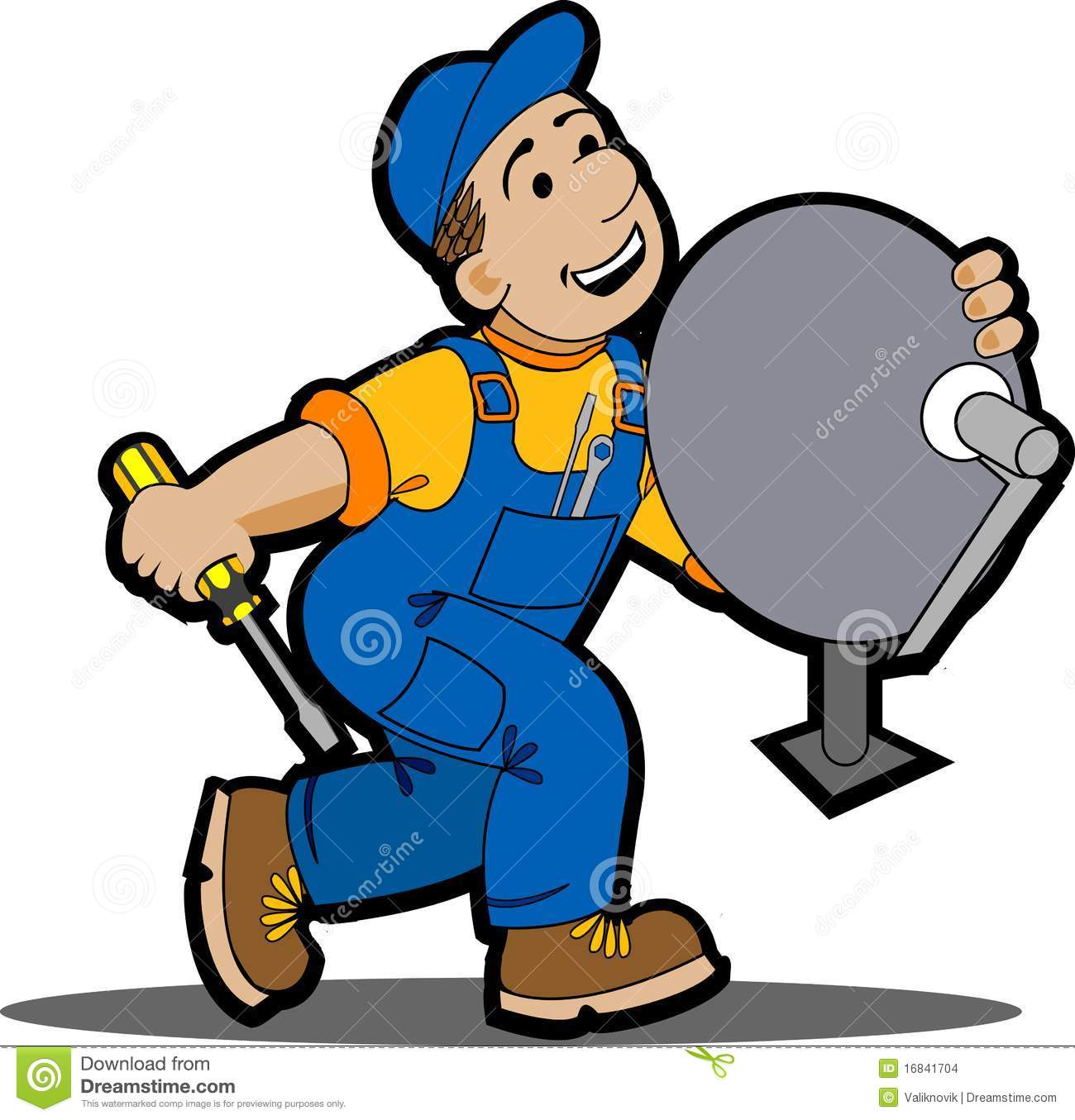 Satellite Installer. Stock Images.