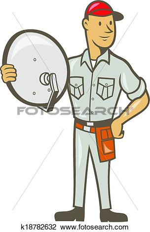 Clipart of Cable TV Installer Guy Standing k18782632.