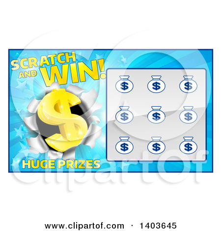 Clipart of a Lottery Instant Scratch and Win Design.