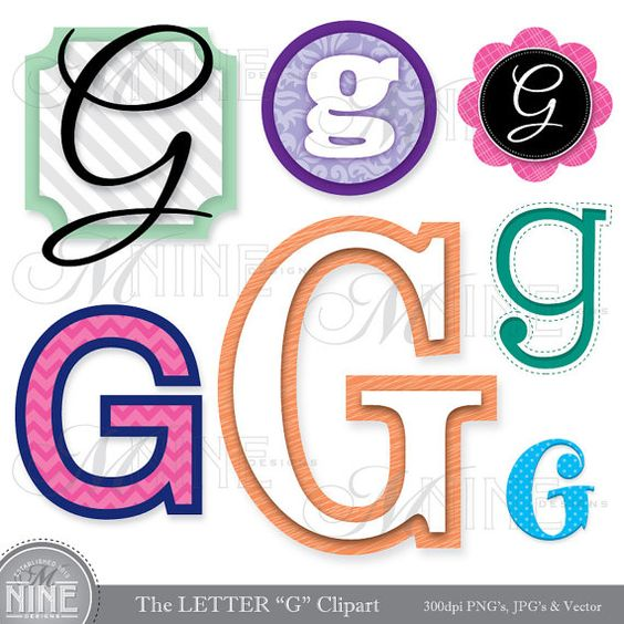 "LETTERS CLIPART Letter ""G"" Clip Art Graphics Vector File, Instant."