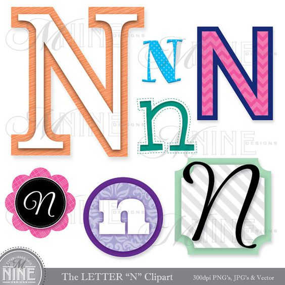 "LETTERS CLIPART Letter ""N"" Clip Art Graphics Vector File, Instant."