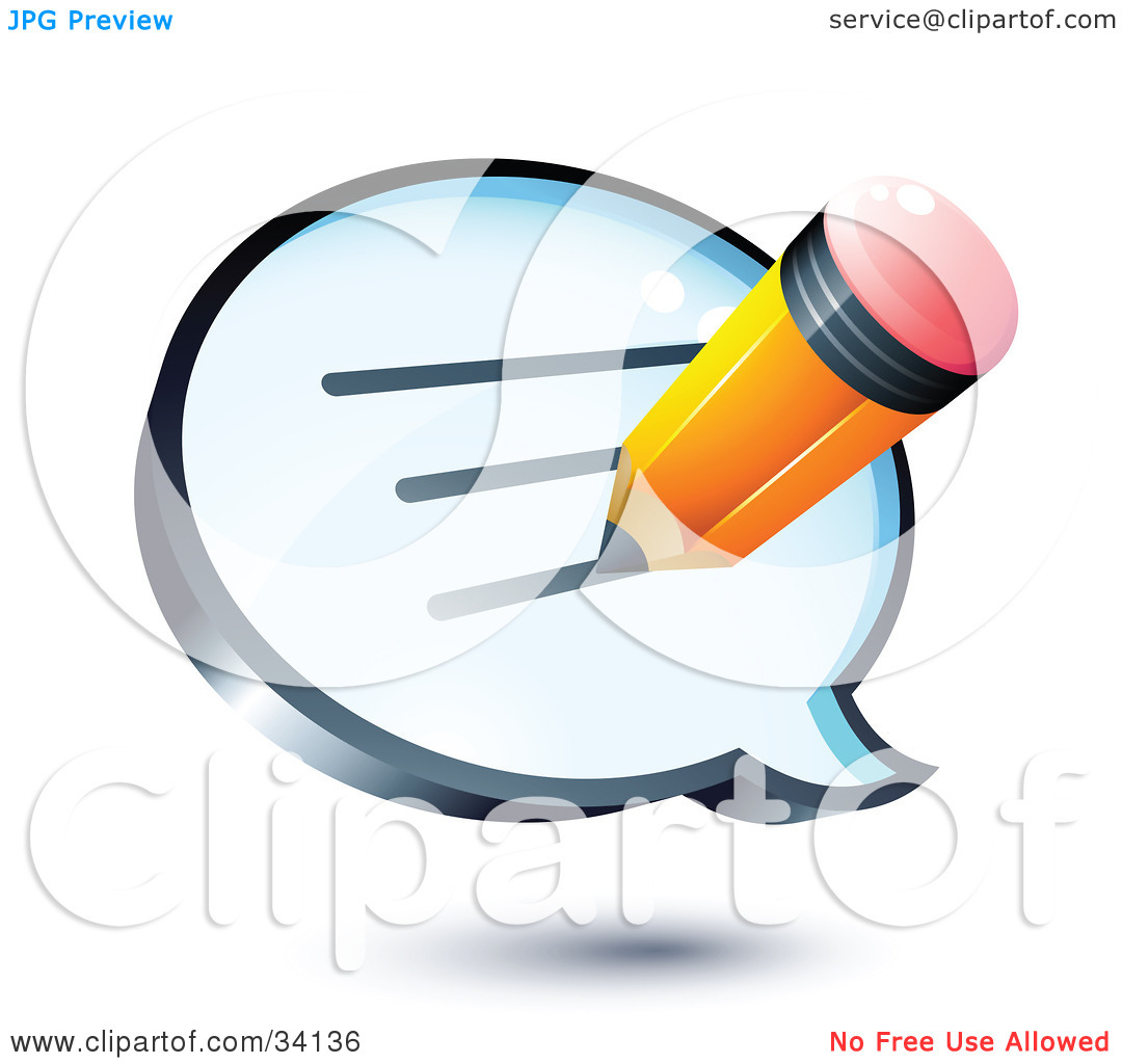 Clipart Illustration of a Yellow Pencil Writing A Message On A.