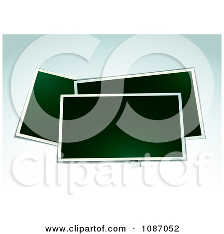 Clipart Blank Instant Photographs On Gradient Blue.