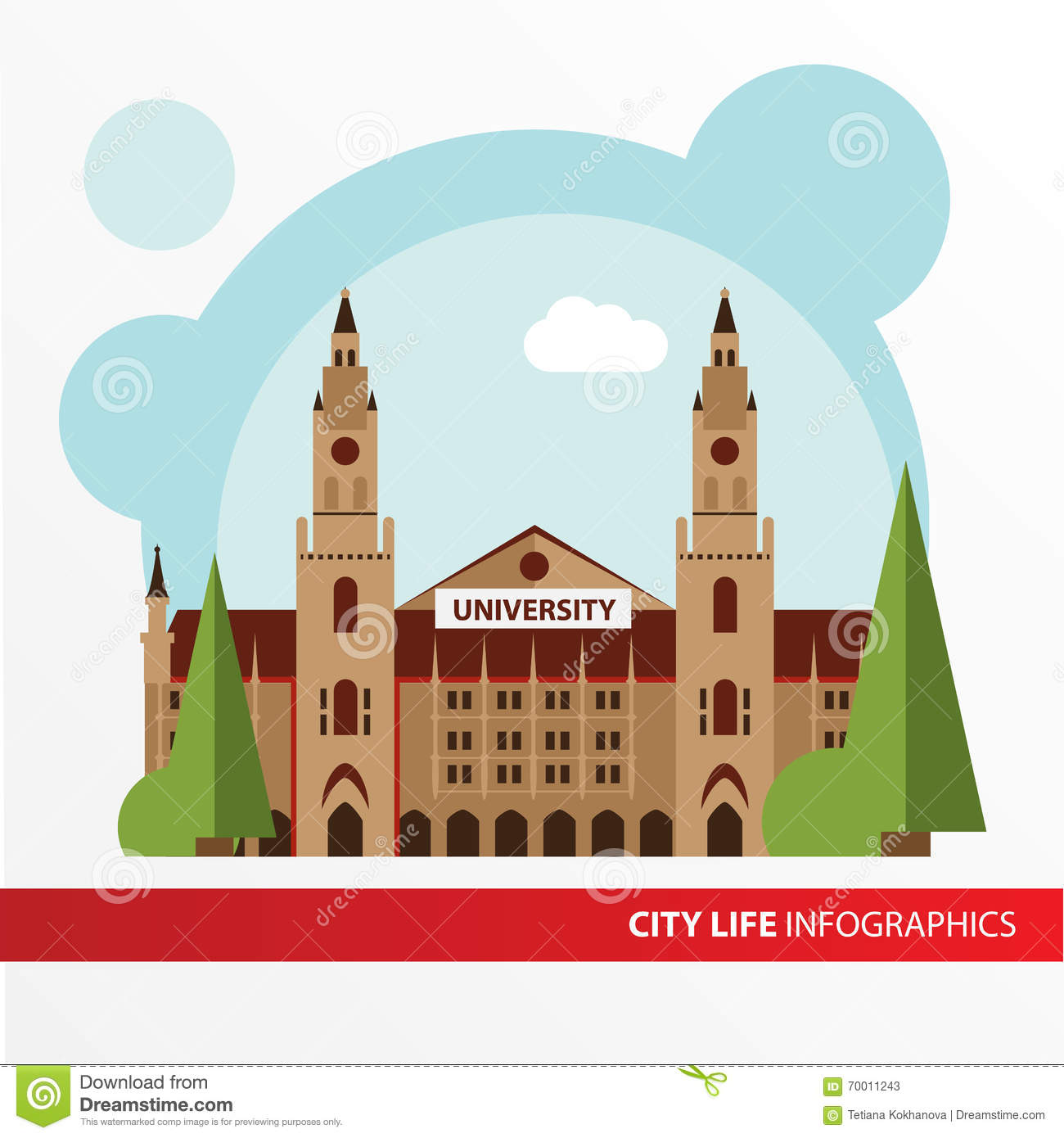 Univercity Building Icon In The Flat Style. Institute. Concept For.
