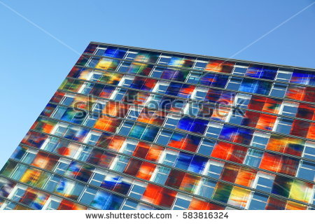 Stained Glass Window Pattern Blue Tone Stock Photo 68982415.