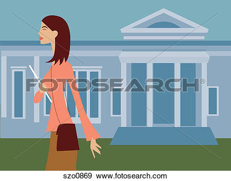 Stock Illustration of A woman walking with a notebook in front of.