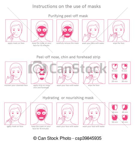 Vectors of Instructions for use face masks.