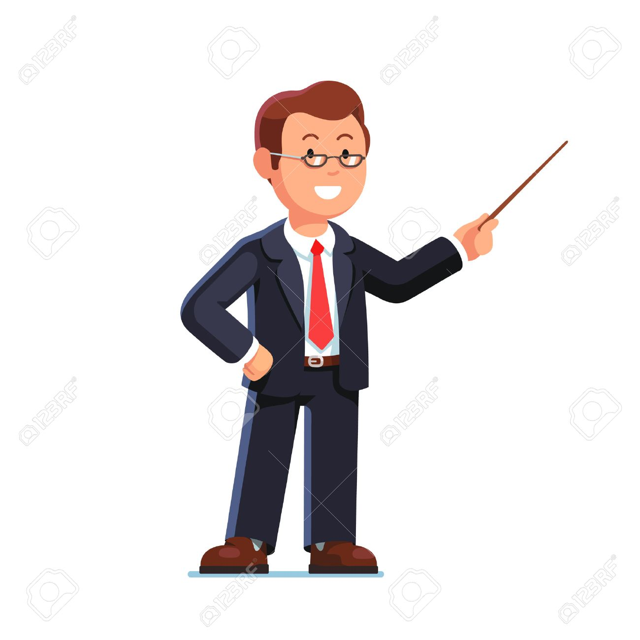 Standing business man teacher wearing glasses pointing with wooden...