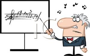 Colorful Cartoon of a Music Teacher Instructing Class.