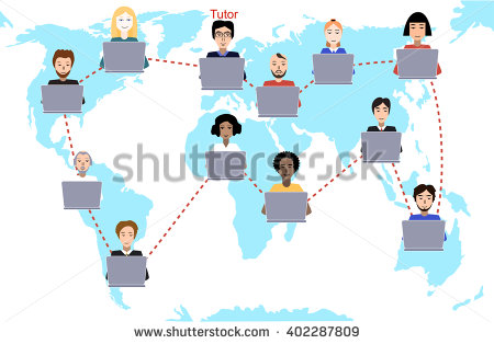 Concept Distance Education Elearning Tutor Instructs Stock Vector.
