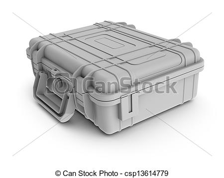 Stock Illustrations of Rendered textureless white instrument case.