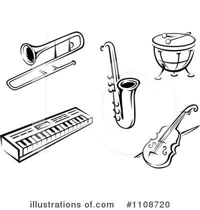 Instruments clipart black and white, Instruments black and.