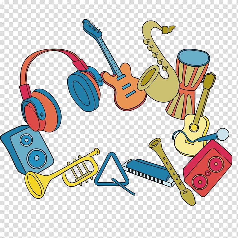 Music festival , musical instruments transparent background.