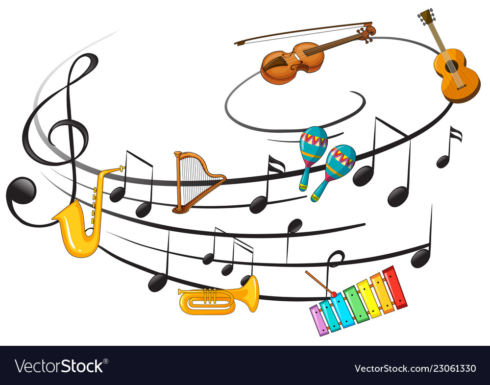 Music instrument with music note.