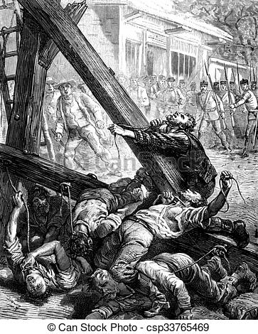Stock Illustration of Colonial Drama. The instrument of torture.