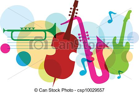 Clipart Vector of music template with notes, guitar and saxophone.