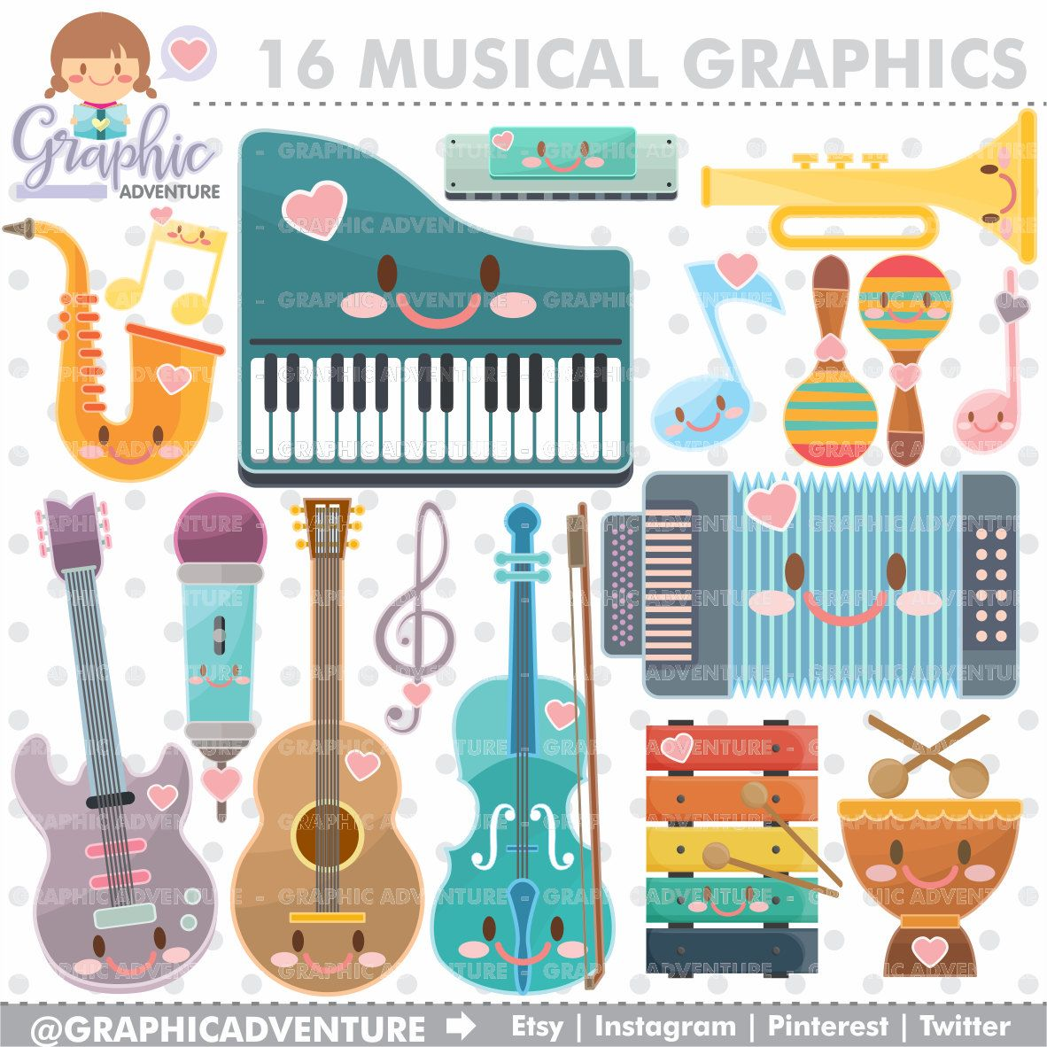 Musical Clipart, Musical Graphics, COMMERCIAL USE, Kawaii.