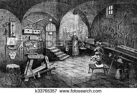 Stock Illustration of Nuremberg. Instruments of torture, vintage.