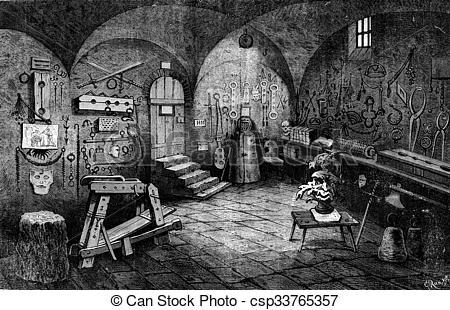 Stock Illustrations of Nuremberg. Instruments of torture, vintage.