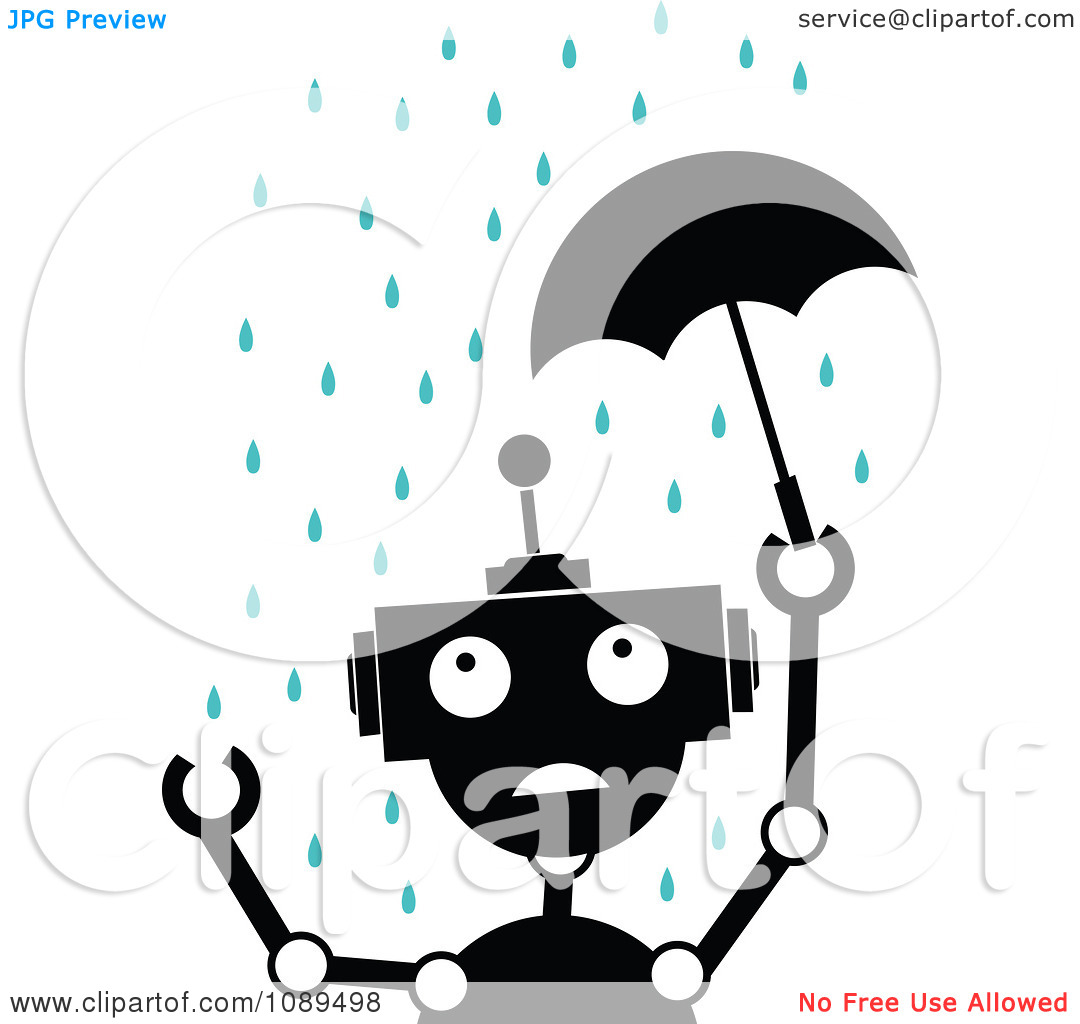Clipart Black And White Robot With A Tiny Umbrella In The Rain.