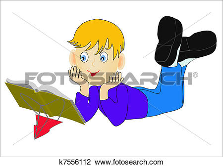 Clipart of nice child reading book insulated k7556112.