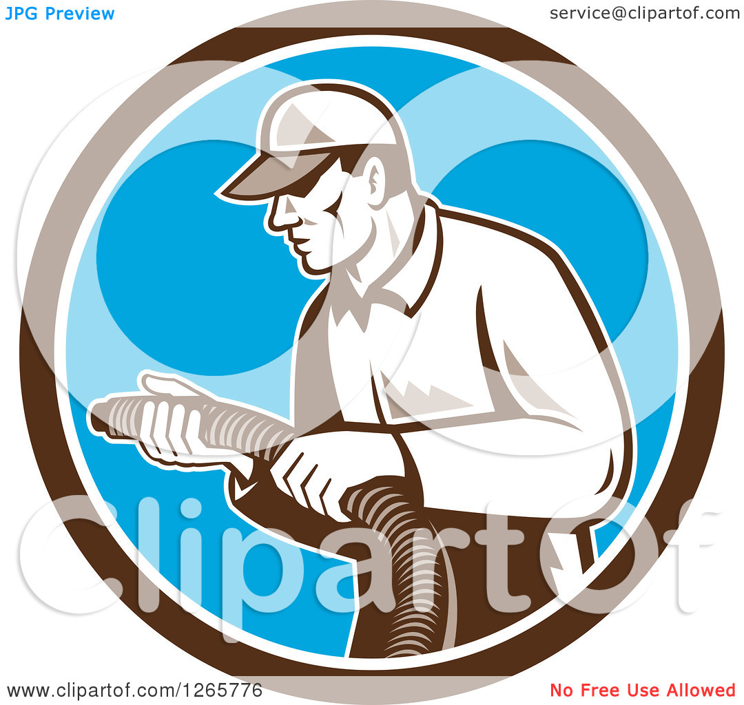 Clipart of a Retro Male Home Insulation Worker Holding a Hose in a.