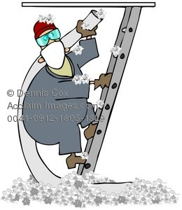 Clipart Illustration: Attic Insulation.