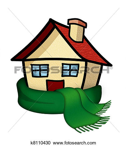 Stock Photography of Miniature house wrapped in scarf e00005160.