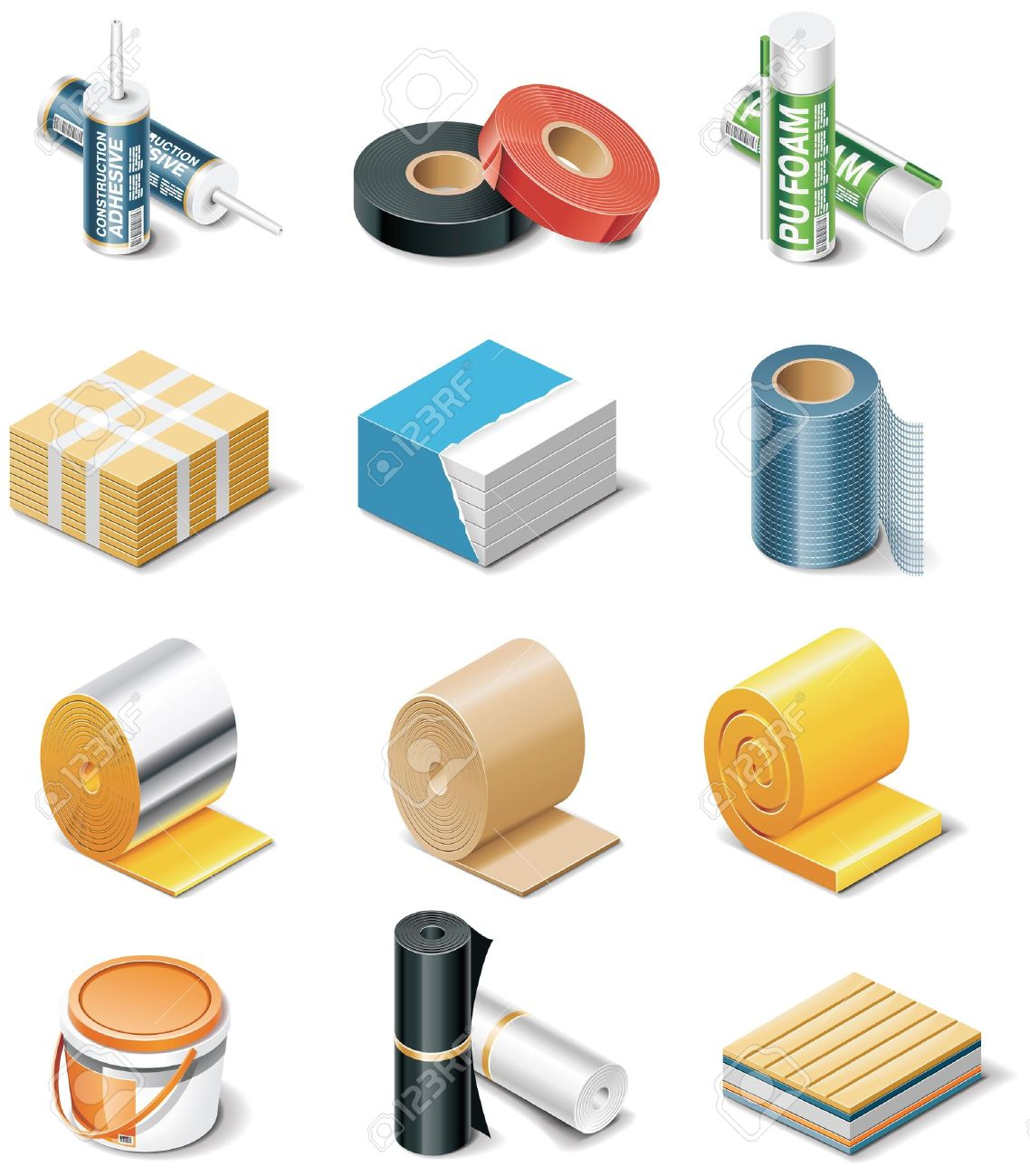 Building Products Icons. Part 2. Insulation Royalty Free Cliparts.