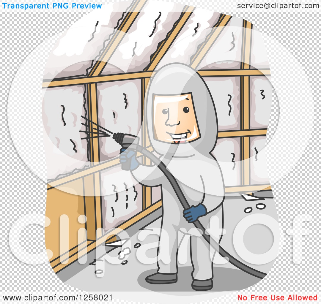 Clipart of a Happy Man Insulating a Wall with Foam.