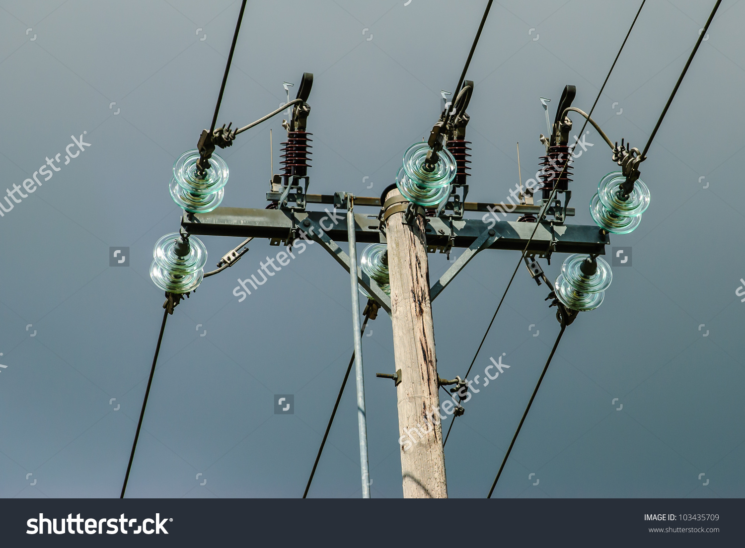 Power Pole Lightning Conductors Glass Insulation Stock Photo.