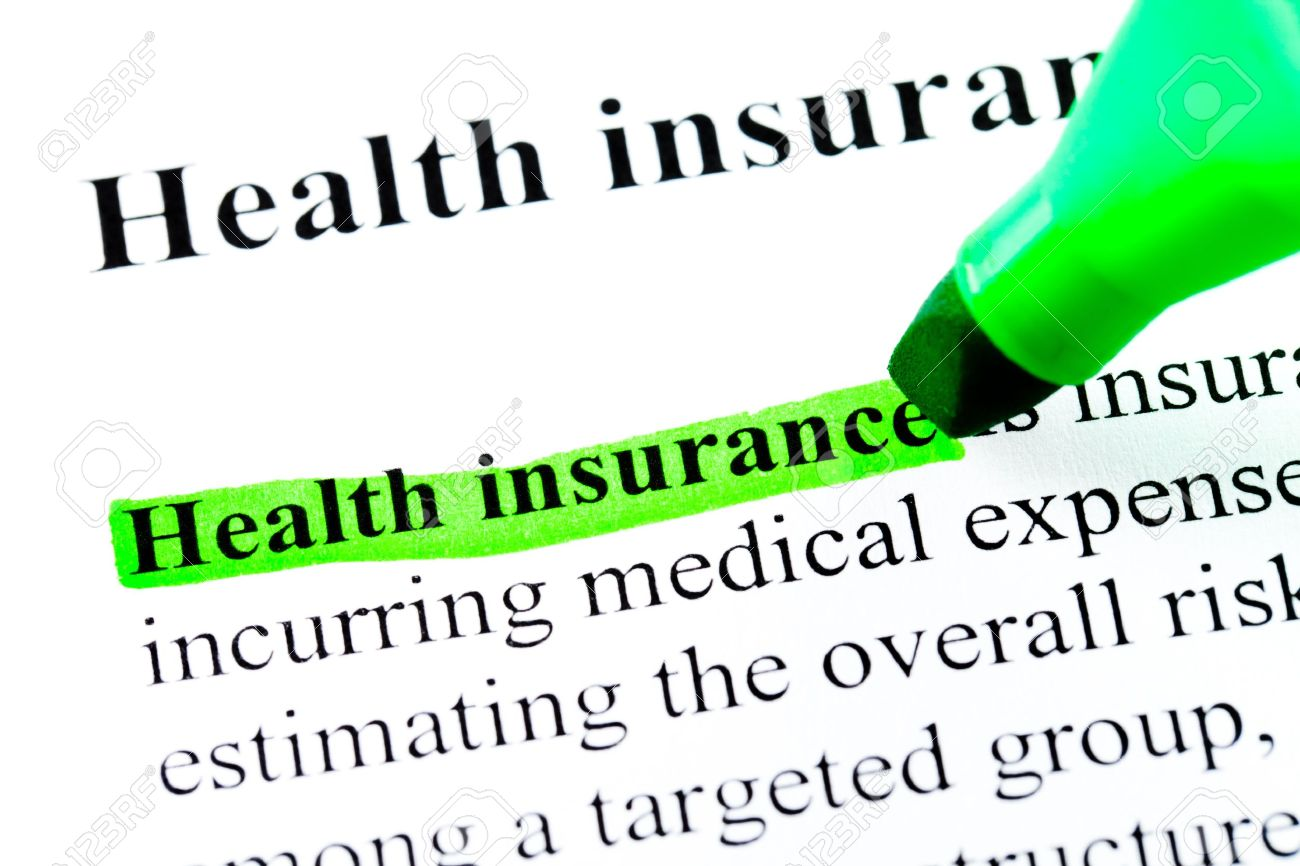 Health Insurance Definition Highlighted By Green Marker On White.