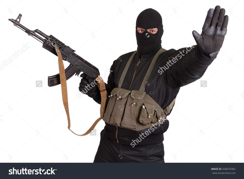 Insurgent Black Uniform Mask Kalashnikov Isolated Stock Photo.