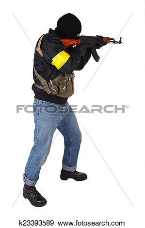 Stock Photograph of insurgent with AK 47 k23393589.