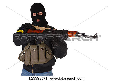 Stock Photography of insurgent with AK 47 k23393571.