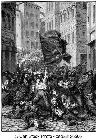 Stock Illustration of Insurrection of Lyon, vintage engraving.