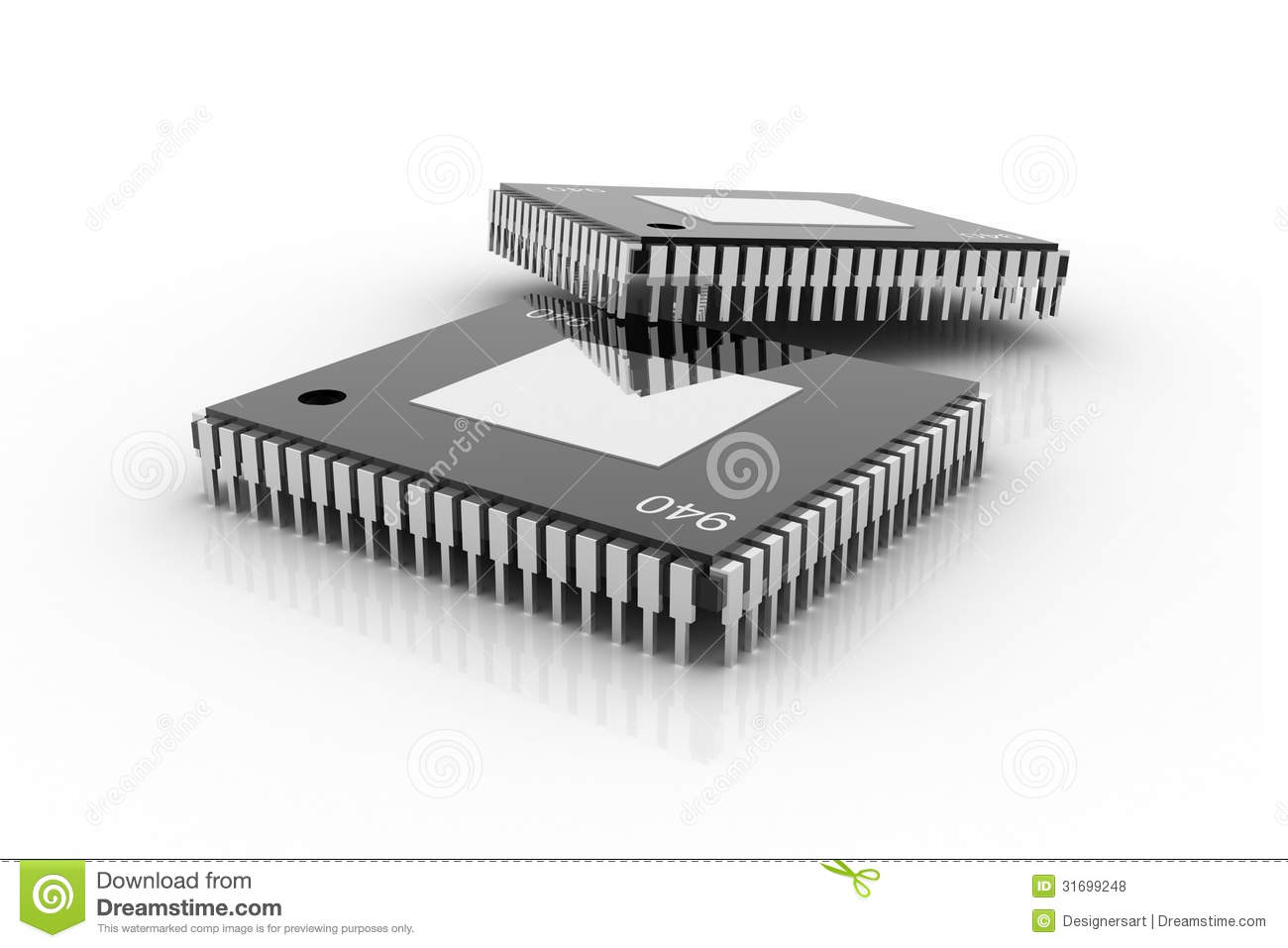 Electronic Integrated Circuit Chip Royalty Free Stock Photos.