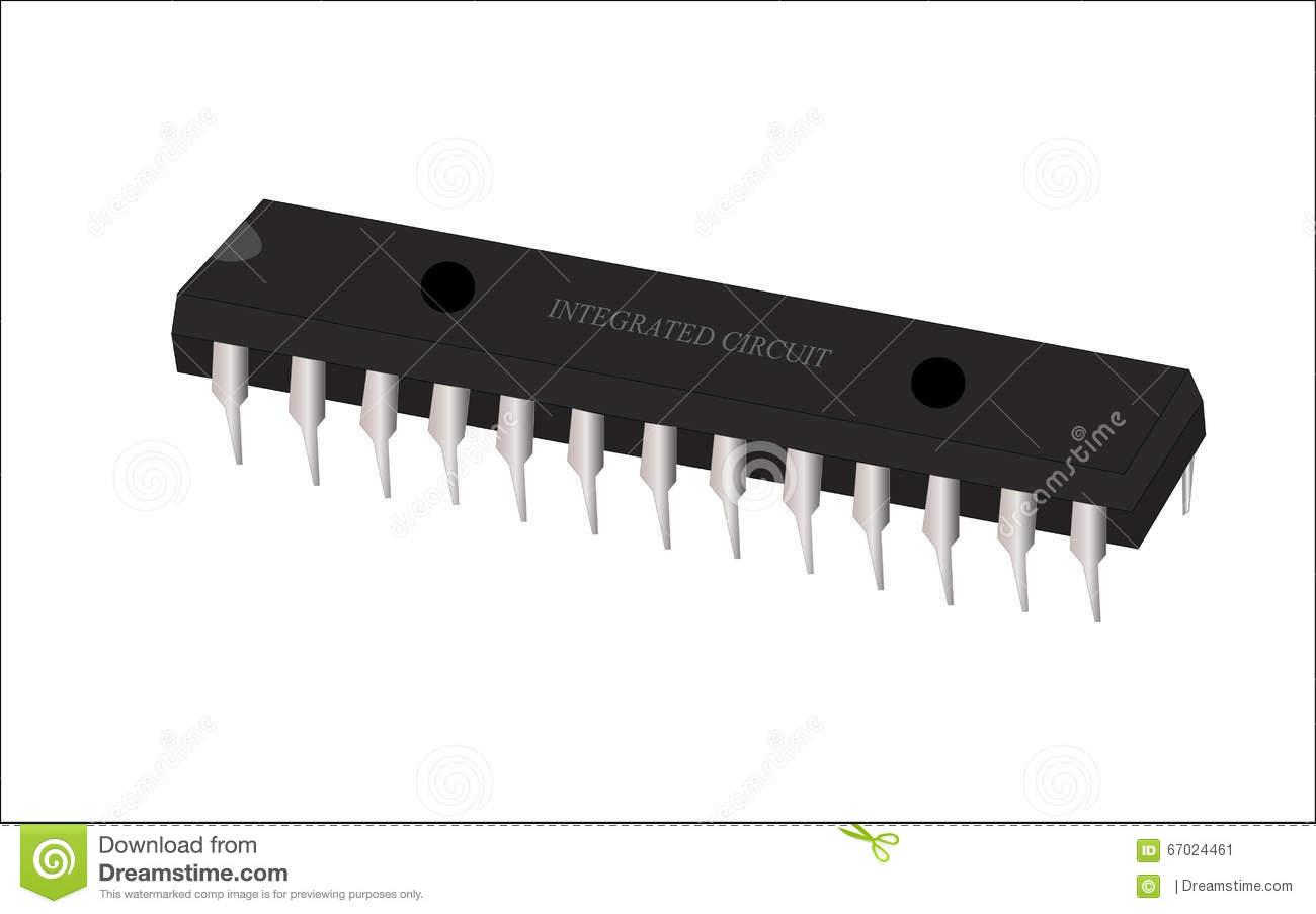 Integrated Circuit (IC) Vector Art. Stock Vector.