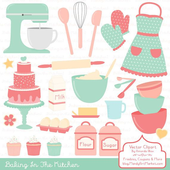 Professional Baking Clipart & Vectors in Mint and Coral.