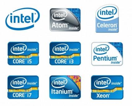 Intel Chip Logos Vector.