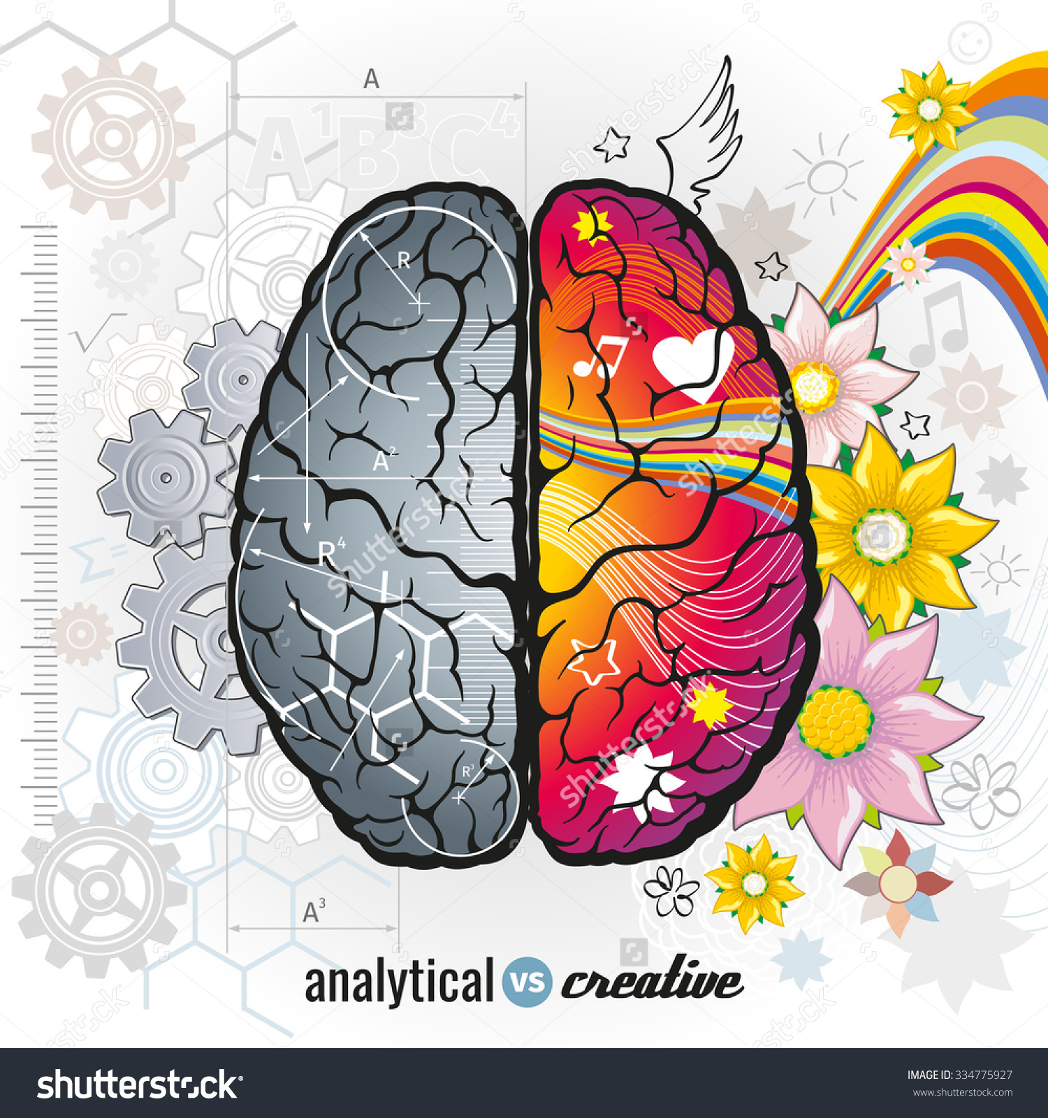 Left Analytical Right Creativity Brain Functions Stock Vector.