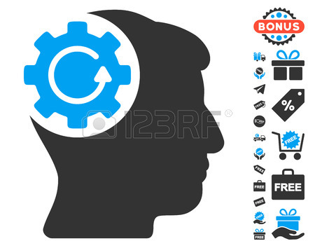 Intellect Gear Rotation Icon With Free Bonus Clip Art. Glyph.