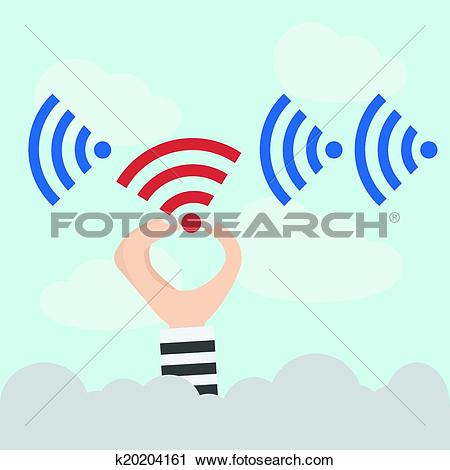 Clipart of Intellectual property and wireless hacker k20204161.